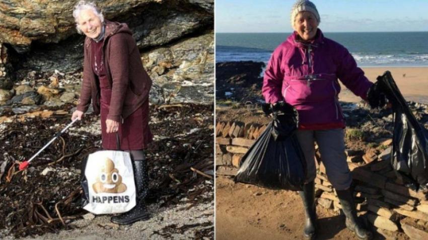 70χρονη έχει καθαρίσει <br> 54 παραλίες από <br> σκουπίδια (εικόνες)