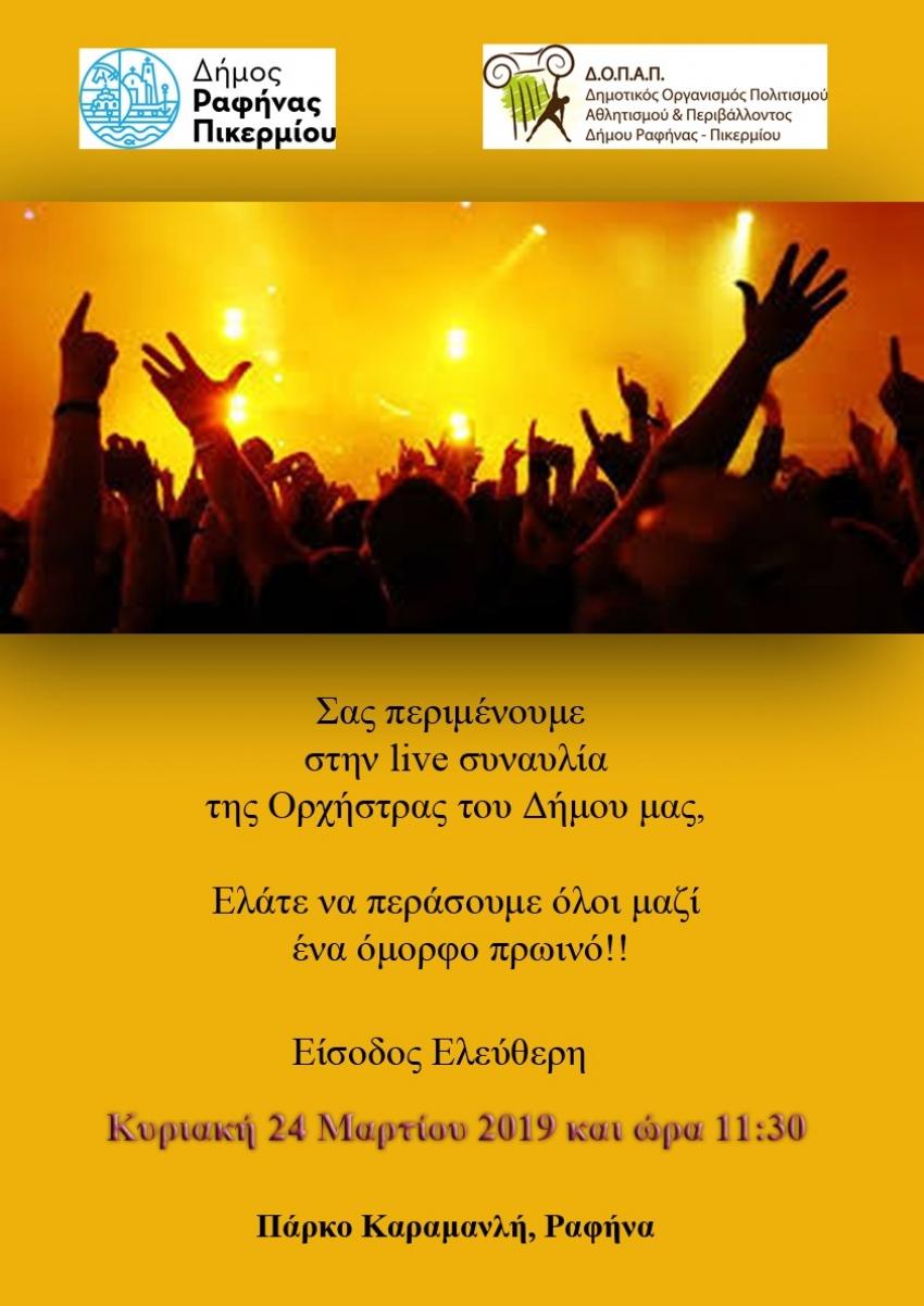 Εμφάνιση χαράς <br> της ορχήστρας του <br> δήμου Ραφήνας