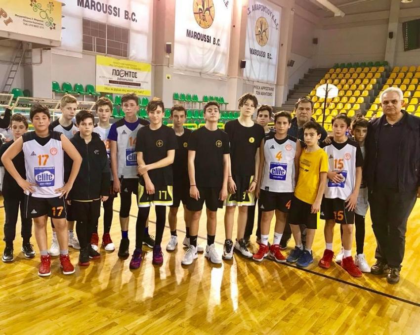 Η ομάδα μπάσκετ <br> των μίνι του ΑΟΚ <br> σε φιλικό στο Μαρούσι